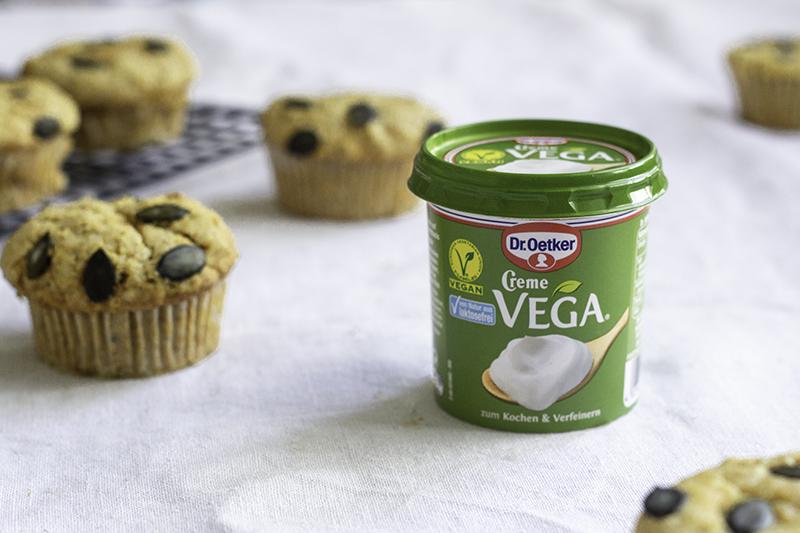 Vegane Pumpkin Spice Muffins mit Creme Vega von Dr. Oetker