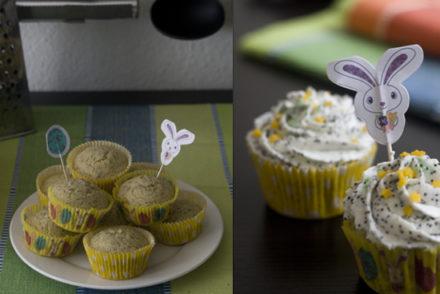 Zitronen-Cupcakes mit Mohn-Sahne