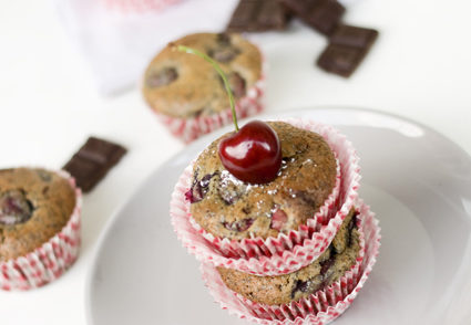 Dark Chocolate Cherry Poppy Muffins